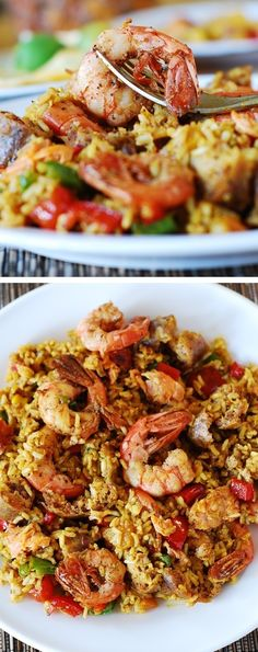 Easy paella with chicken, shrimp and sausage