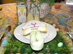 Place setting with bunny juice box