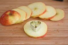 A great way to take the core out of apple slices. And a cute healthy Valentine's Day snack!