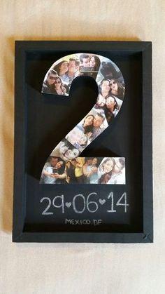 Idea para regalar a tu novio en su aniversario! muy romántico: numero 3D estampado con fotos  #sanvalentin #aniversario #parejas #novios #decoabrillantada #letras3D #letrascorporeas #numeros3D