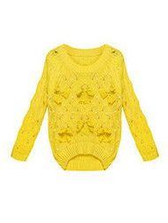 Sweet Bow Beads Hollow Loose Knit Sweater