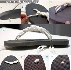 Diy flip flops Home Crafts, Diy Crafts, Ladies Night, Diy Clothing, Craft Party, Craft Fairs, Refashion, Kate Middleton, Flip Flops