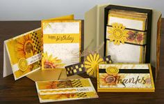 The Efficient Crafter: Sunflowers Blog Hop #clubscrap Bi-Fold Card Box w/ Cards by Tricia Morris