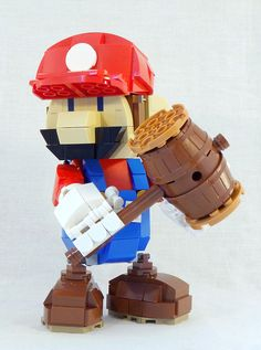 """My father always referred to a hammer as a """"plumber's screwdriver"""", which is maybe a little unfair on professional pipe-botherers. However, it's the first thing I thought of when I saw Anton Sundström's LEGO Mario sculpture. Everyone's favourite dungaree- Lego Mario, Lego Super Mario, Super Mario Art, Legos, Lego Creationary, Lego Games, Lego Minecraft, Lego Batman, Minecraft Buildings"""