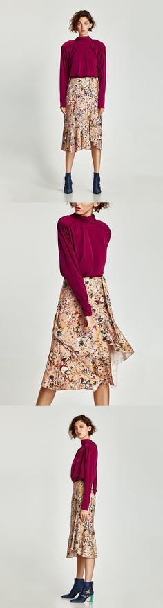 Printed Sarong Skirt // clojure.lang.LazySeq@3041e38b // Zara // Printed sarong skirt with ruffled hem and side bow fastening. HEIGHT OF MODEL: 178 cm. / 5′ 10″