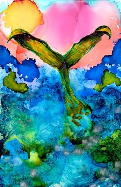 Mermaid painting with alcohol ink AIART miniature by thanks4lookin, $10.00