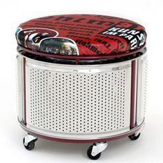cool stool to make with old washing machine drum. 15 ways to use old washing machine drums Ways To Recycle, Reuse Recycle, Repurposed Furniture, Cool Furniture, Handmade Furniture, Industrial Furniture, Vintage Furniture, Furniture Design, Washer Drum