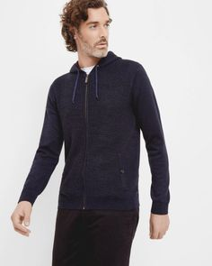 Knitted zip up hoodie - Navy | Knitwear | Ted Baker UK