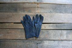 Vintage Navy Blue Leather Gloves by vintapod on Etsy