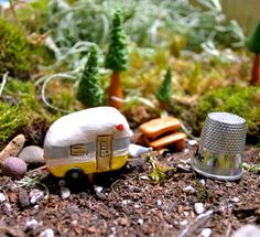 My Fairy Garden is going to include a little RV campground.  Fire pit with my friends around the campfire.   Glama-Camping Fairy Garden Vintage Travel Trailers - Sculpted Miniatures