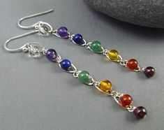 Chakra Earrings with Natural Gemstones by goodmedicinegemstone, $30.00