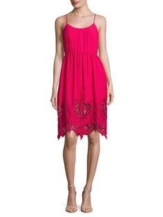Maje Rayai Lace Trimmed Flared Dress