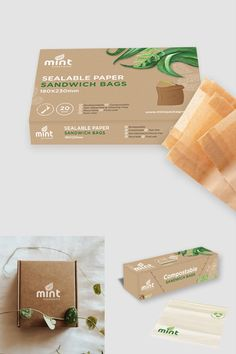 Mint Packaging sustainable and compostable packaging design by CIP Design Studio New Zealand. Kiwiana, Packaging Design, Place Card Holders, Mint, Branding, Graphic Design, Studio, Package Design, Studios