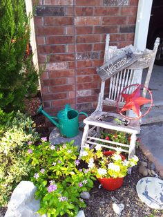Garage sale finds make great, affordable flower bed decor!