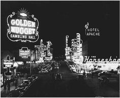 "Las Vegas. Casinos and hotels light up the night for gamblers and tourists in 1950s Las Vegas. The birth of ""the Strip"" in Las Vegas forever changed the face of legalized gambling in America and established a gambling Mecca that people from all walks of life could visit and enjoy.    © Corbis  Full Text:  COPYRIGHT 2004 Gale, Cengage Learning."