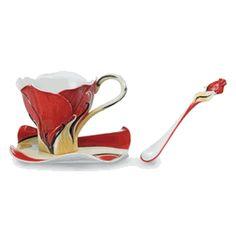 Garden Blossoms Rose design sculptured porcelain cup/saucer/spoon set