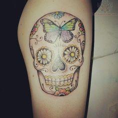 Skull Tattoos For Girls | Sugar Skull Butterfly Tattoo