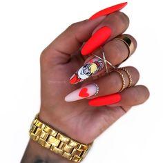 Disney Acrylic Nails, Classy Acrylic Nails, Almond Acrylic Nails, Really Cute Nails, Pretty Nails, Red Nail Designs, Acrylic Nail Designs, Nail Manicure, Gel Nails