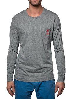 Diesel Hommes manches longues UMLT Justin-shirt col rond - Gris melange