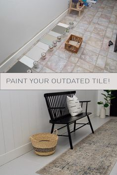 Sep 2019 - This has been a long time coming! I have been talking about the process of painting tile for months now and it has been one of the most engaged topics. As a reminder if you didn't catch my st… Painting Ceramic Tile Floor, Painting Bathroom Tiles, Tile Floor Diy, Painting Tile Floors, Painted Floors, Painting Over Tiles, Cement Tiles, Painted Tile Bathrooms, How To Paint Tiles