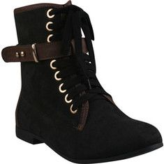 The Polly-03 is a lace up ankle boot with a round toe and a side zipper.
