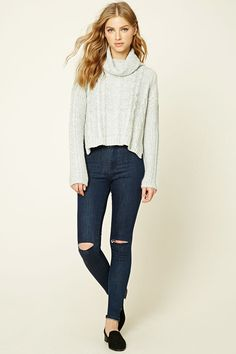 Cable Knit Cowl Neck Sweater - Jumpers + Cardigans - 2000249921 - Forever 21 EU English