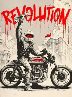 """Illustration / poster design for the """"Revolution"""" Motorcycle / Art / Film show in Hastings. Hand drawn with brush, ink & gouache, digital colouration. Commissioned by Revolt Motorcycles."""