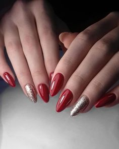 27 Best Sexy Red Nails Inspirational Design 2 - Famous Last Words Ivory Nails, Pink Nails, Red Nails With Glitter, Xmas Nails, Christmas Nails, Christmas Ornaments, Love Nails, Pretty Nails, Seasonal Nails
