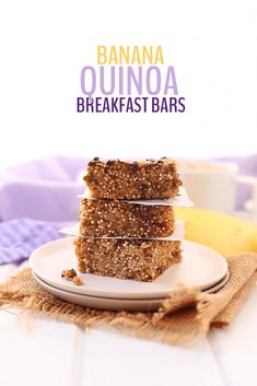 Get your quinoa first thing in the morning with these Banana Quinoa Breakfast Bars. An easy, make-ahead breakfast that is vegan, and refined-sugar-free. Thee banana bars will quickly become a favorite. Banana Quinoa Breakfast Bars, Quinoa Bars, Vegan Protein Bars, Banana Bars, Breakfast Cookies, Breakfast Recipes, Breakfast Ideas, Vegan Breakfast, Mexican Breakfast