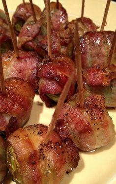 Bacon Wrapped Brussel Sprouts. And that is how B will learn to love brussel sprouts....