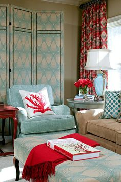 My color inspiration as I start re-doing the family room. Love light robin egg blue and red.