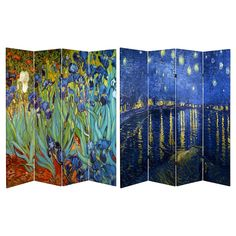Van Gogh Fine Art Double Sided Room Divider Starry Night and Irises - Oriental Furniture,