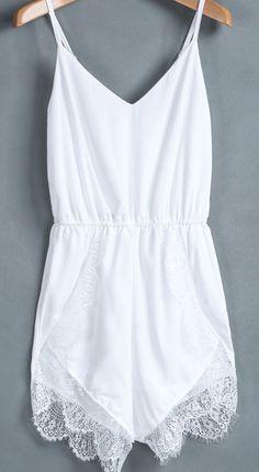 Sheinside Women's White Spaghetti Strap Lace Chiffon Jumpsuit