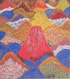 Hills and Rivers in Spring, Japan, lithograph by Reiji HIRAMATSU - Japanese Painting Gallery Japanese Wall Art, Japanese Painting, Japanese Prints, Japanese Mountains, Autumn Painting, Japanese Flowers, Mountain Paintings, Painting Gallery, Landscape Art