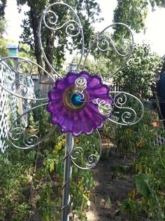 glass yard art images | Yard Art Garden Art Glass and wire flower from by ATouchofArtHome