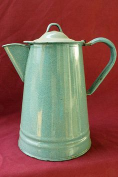 Antique Blue Graniteware Coffee Pot - $35