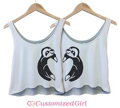 Best Friends Sloths 1: Custom Bella Flowy Boxy Lightweight Crop Top Tank Top - Customized Girl #bestfriends #sloths #heart