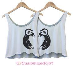 Best Friends Sloths 1: Custom Bella Flowy Boxy Lightweight Crop Top Tank Top - Customized Girl #bestfriends #sloths #heart