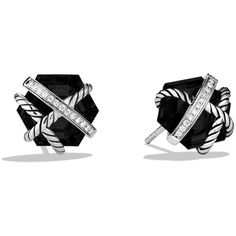 David Yurman Cable Wrap Earrings with Black Onyx and Diamonds (880 CAD) ❤ liked on Polyvore featuring jewelry, earrings, accessories, brinco, black, black onyx, womens jewellery, black diamond jewelry, black onyx earrings and post earrings