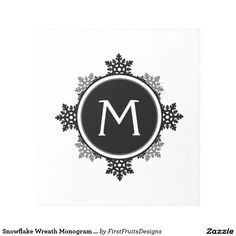 Snowflake Wreath Monogram in Black and White Memo Notepads