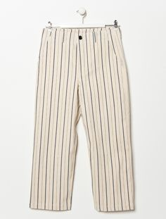 OTHER/man Felix Stripe Ecru Natural Denim Trouser: Felix Stripe Ecru Natural Denim Trouser trouser by OTHER/man .  -Limited Edition of 15  -straight wide leg trouser  -Button/fly closure with belt loops at waist  -Real horn button fastenings  -Slightly cropped length  -Two slant front pockets and two rear patch pockets