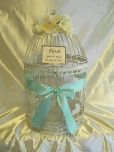 Round Birdcage Wedding Card Box Holder / White Birdcage / Mint / Shabby Chic…