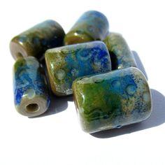Handmade Lampwork Glass Tube Beads sage green medium blue enamel