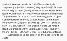 May 2014: #Ireland Here are details for 3 #ME May talks by Dr Shepherd (of @MEAssociation) #MyalgicE #MECFS