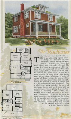 The Rochester plan presents a distinguished facade to the world. It's a massive Foursquare home with traditional-style embellishments such as the modillions (scrolled brackets) at intervals under the wide boxed eaves at the dormer, roof, and porch.