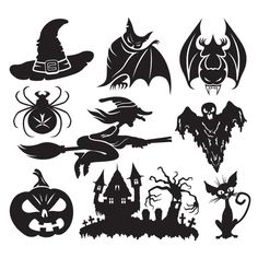 Silhouette Halloween Icon set Vector - http://www.freevectorbg.com/silhouette-halloween-icon-set-vector/
