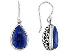 Southwest Style By Jtv(Tm) Pear Shape Cabochon Lapis Lazuli Sterling Silver Dangle Earrings