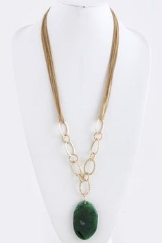 Natural stone long statement necklace