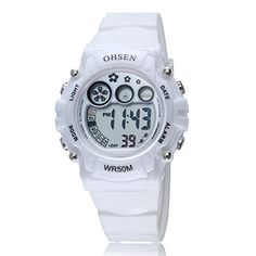 OHSEN Sport Type Young Man Woman White Silicone Strap Digital Wrist Watch >>> You can find out more details at the link of the image.Note:It is affiliate link to Amazon.
