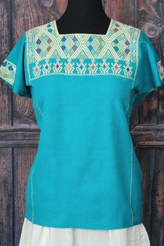 Turquoise & Cream Huipil Larrainzar, Chiapas Mexico, Hand Woven Mayan Women Boho #Handmade #Huipiltunic